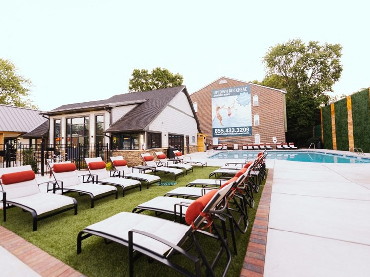 Outdoor Lounge Area by Pool at Uptown Buckhead, Atlanta, GA