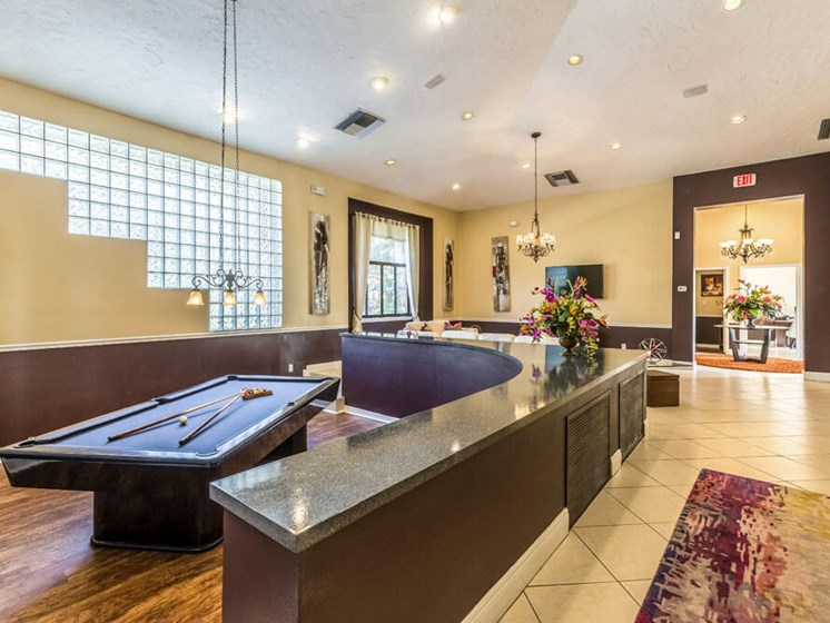 Game Room with Billiards and Shuffleboard at Winthrop West Apartment Homes, Florida, 33578