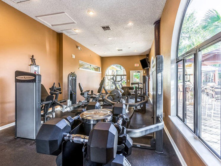 Free Weights in Gym at Winthrop West Apartment Homes, Riverview, FL