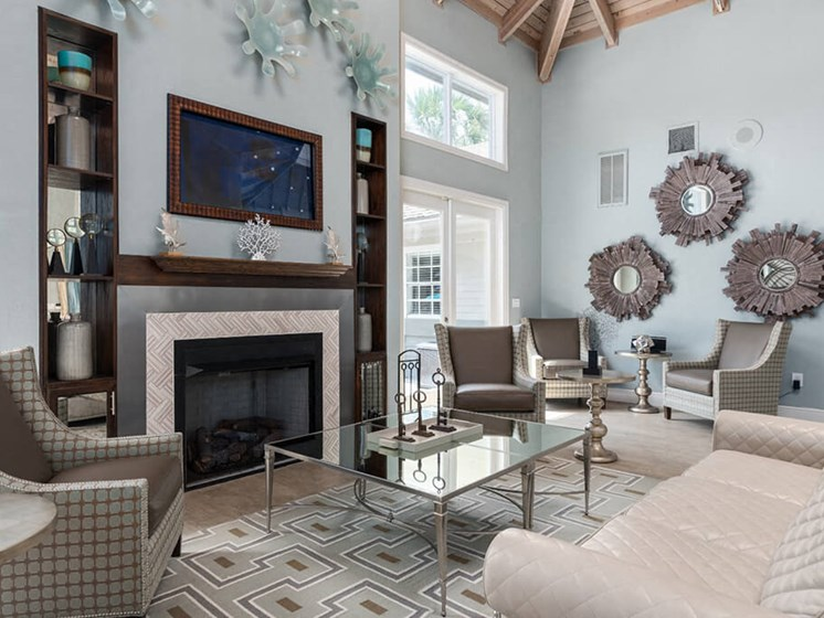Lounge Area With Fireplace at Bay Club Apartments, Florida, 32256
