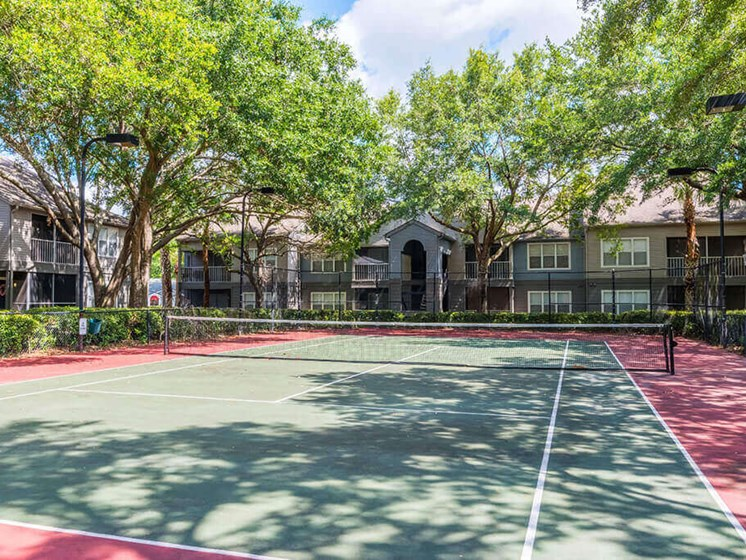 Smooth and Well Kept Tennis Court at Bay Club Apartments, Jacksonville, FL