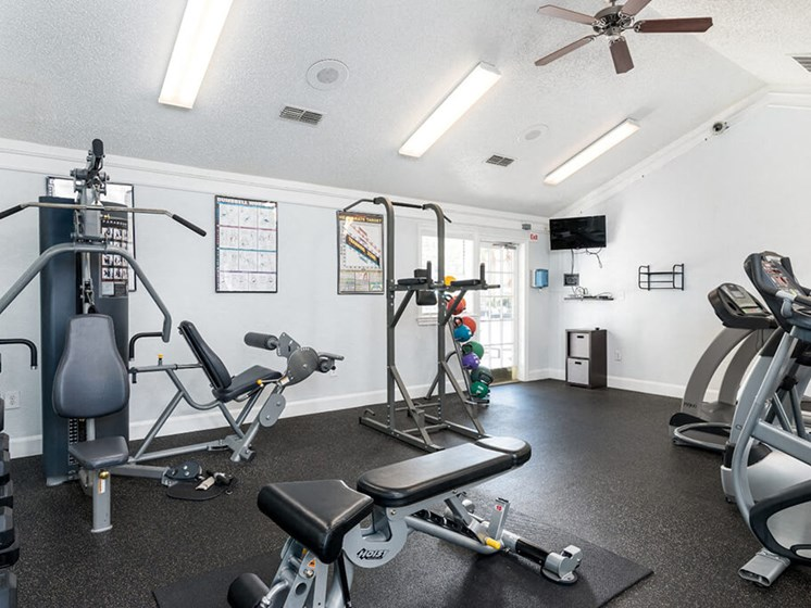24/7 Fitness Center with Free Weights at Bay Club Apartments, Jacksonville, 32256