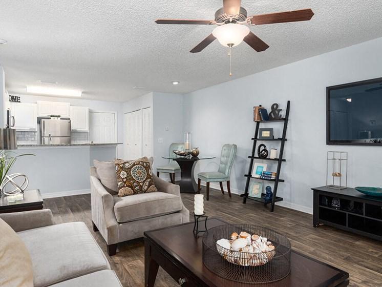 Classic Living Room Design at Bay Club Apartments, Jacksonville, FL, 32256