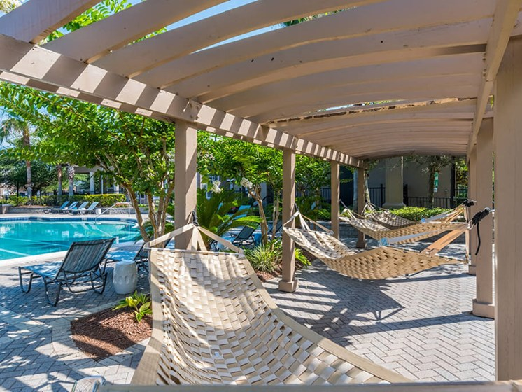 Shaded Hammocks by Pool at Courtney Meadows, Jacksonville, 32256