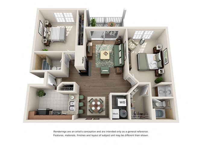 Dorchester Floor plan - 2 Bedroom 2 Bath - Green Trails Apartment Homes Lisle, IL