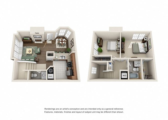 Tudor Floor plan - 2 Bedroom 1.5 Bath - Green Trails Apartment Homes Lisle, IL