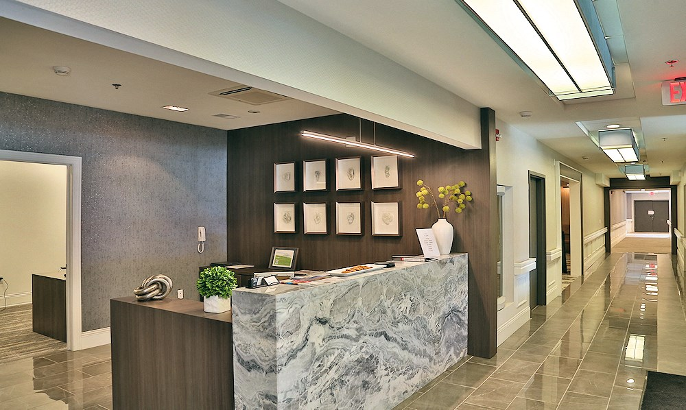 The front desk at The James Ferndale senior apartments