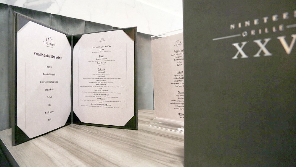 The menu for meals at The James Ferndale senior apartments