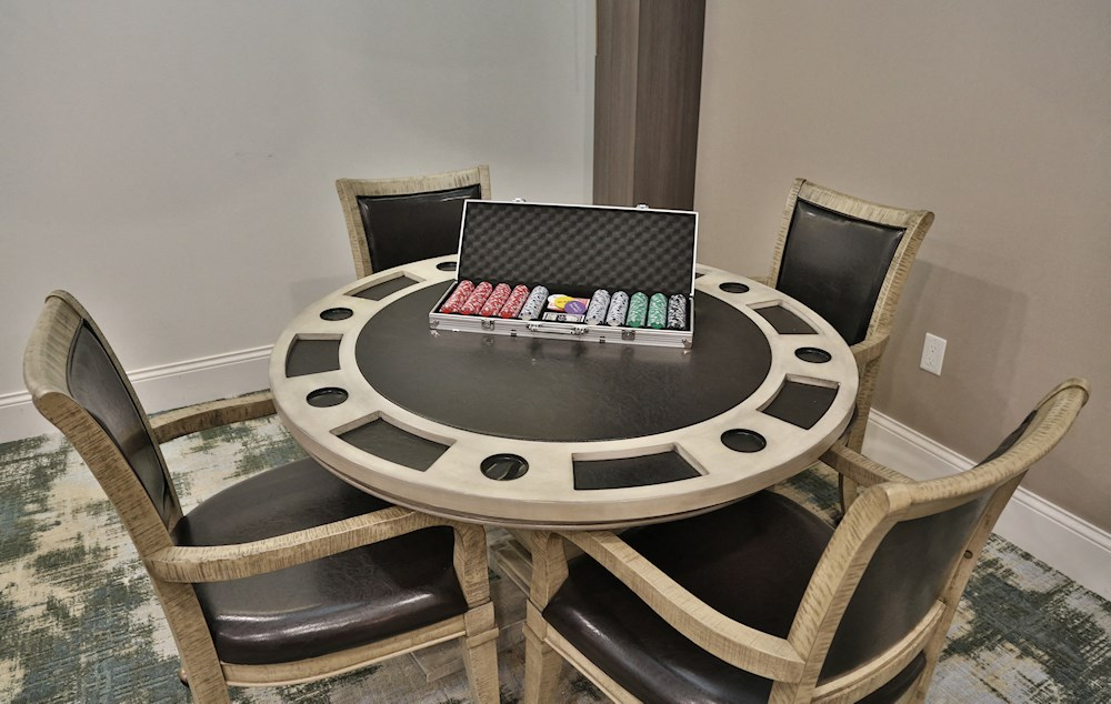 A table for games at The James Ferndale senior apartments