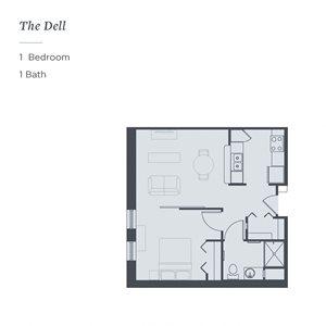 Floor plan of the Dell, a 1-bedroom 1-bath senior apartment