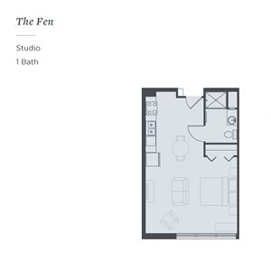 Floor plan of The Fen, a studio with one bathroom, at The James Ferndale