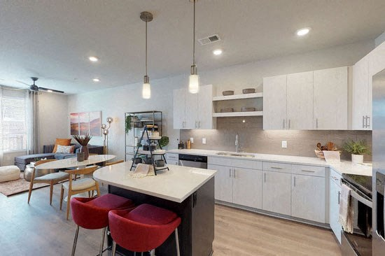 Fully Equipped Eat-In Kitchen at Revolve at OneFifteen, Overland Park