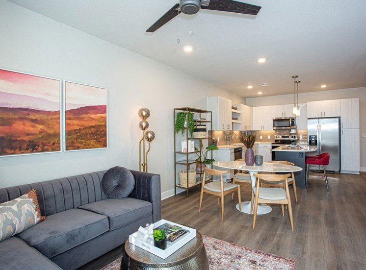 Living Room Come Kitchen View at Revolve at OneFifteen, Overland Park, Kansas