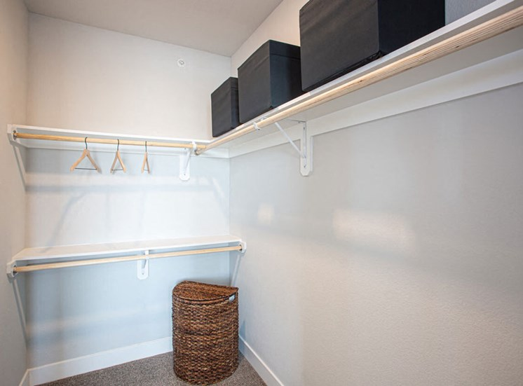 Walk-In Closets With Built-In Shelving at Revolve at OneFifteen, Overland Park, Kansas