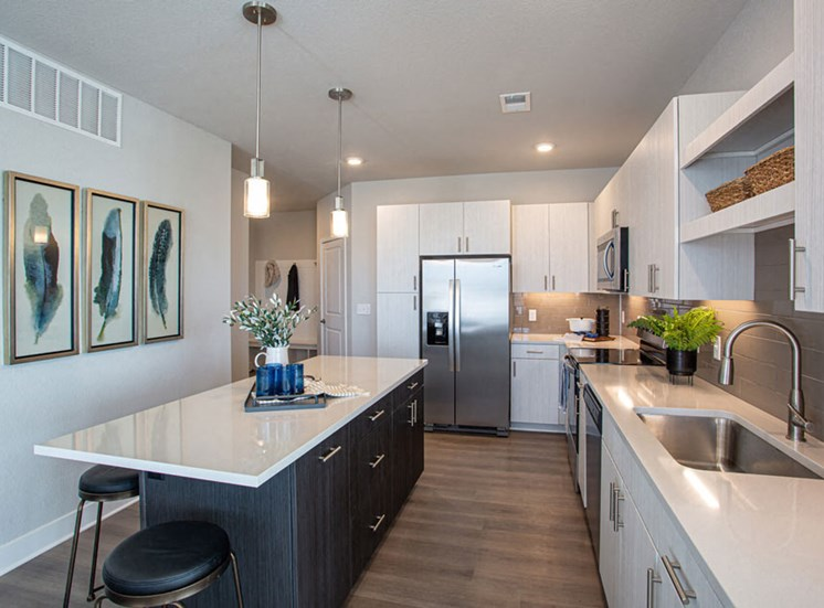 Fully Equipped Island Kitchen at Revolve at OneFifteen, Overland Park