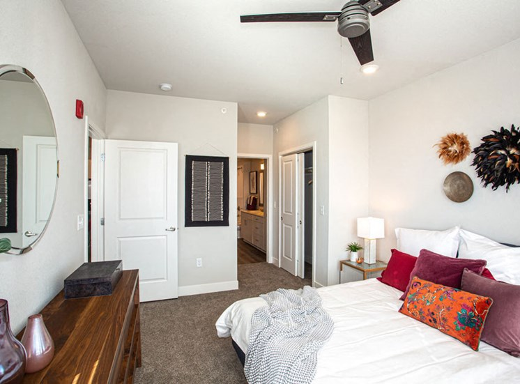 Carpeted bedrooms at Revolve at OneFifteen, Overland Park, KS