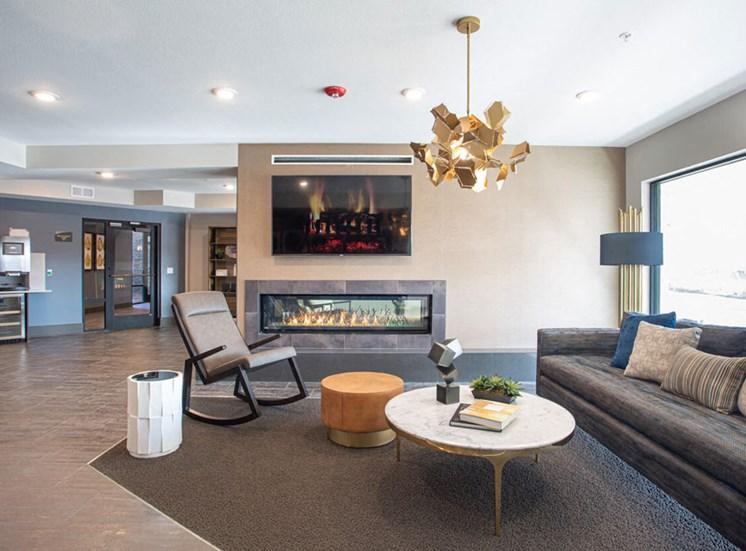 Quaint Fireplace Sitting Area at Revolve at OneFifteen, Overland Park, Kansas