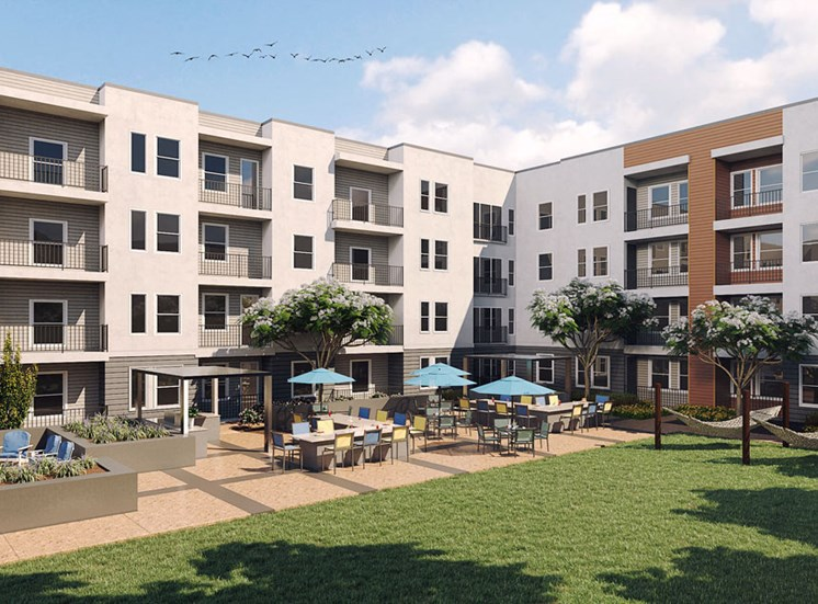 Courtyard Rendering at Revolve at OneFifteen, KS