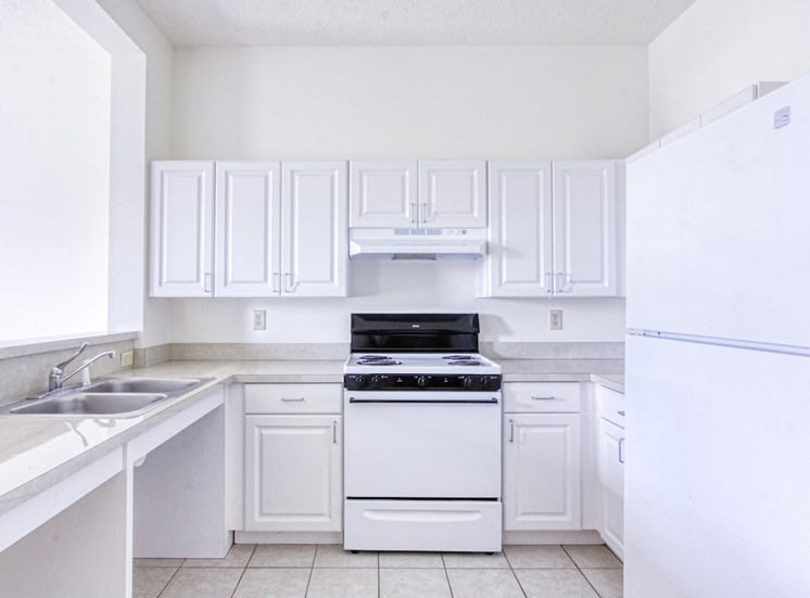 neat kitchen with efficient white appliances and white cabinetry