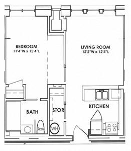 St. Giles Manor II One bedroom floor plan