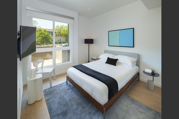 Comfortable Bedroom With Large Window at Concourse, Los Angeles