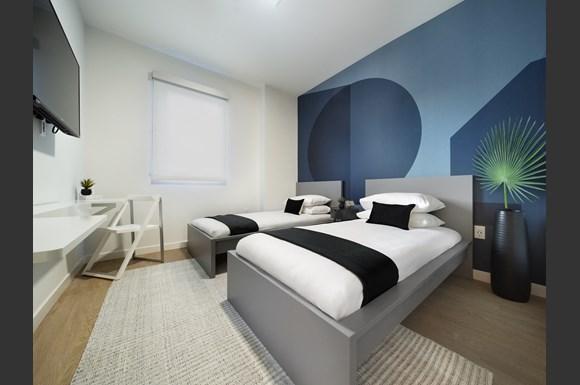 Westchester Apartments Flight Unit 106 Bedroom Lavish Bedroom at Concourse, Los Angeles, California