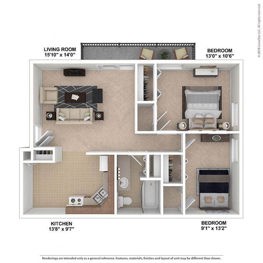 2 Bedroom, 1 Bath 830 sq. ft.