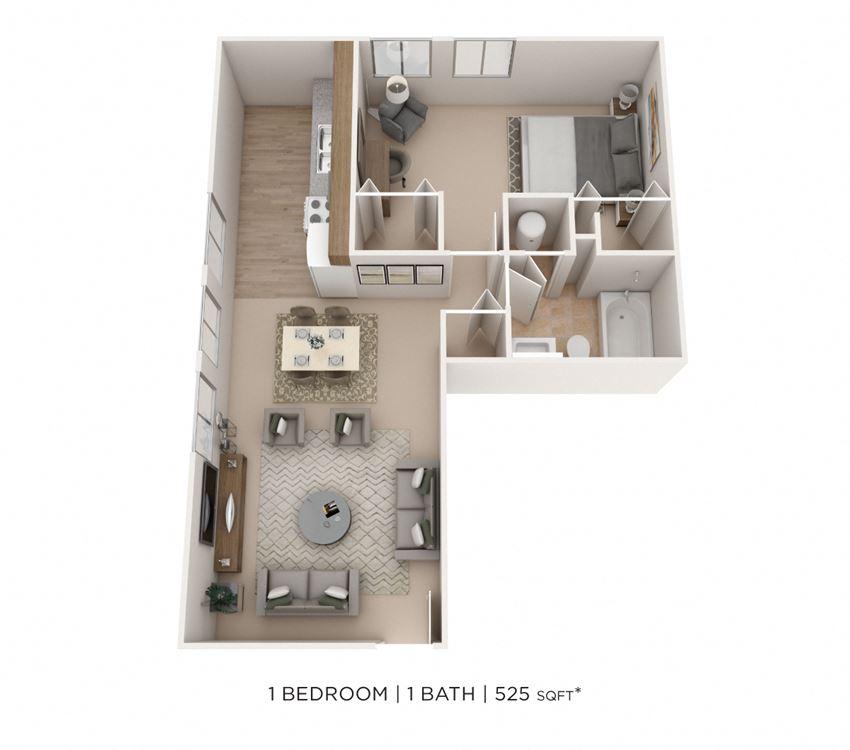 1 Bedroom, 1 Bath 525 sq. ft.