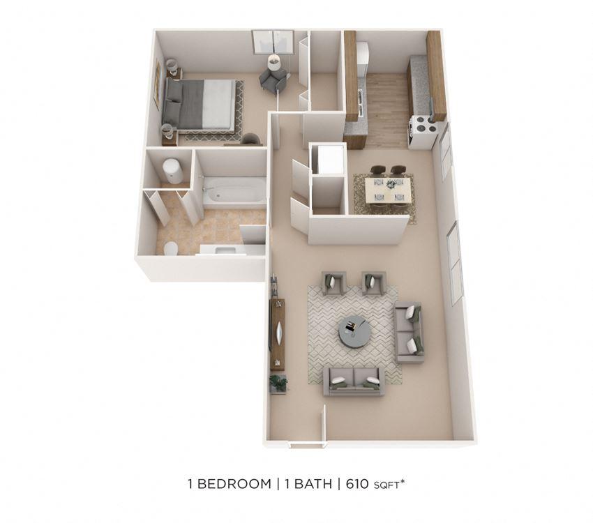 1 Bedroom, 1 Bath 610 sq. ft.