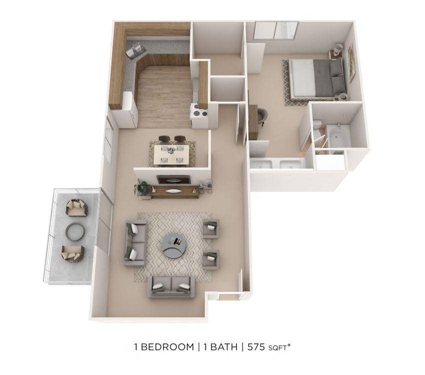 1 Bedroom, 1 Bath 575 sq. ft.