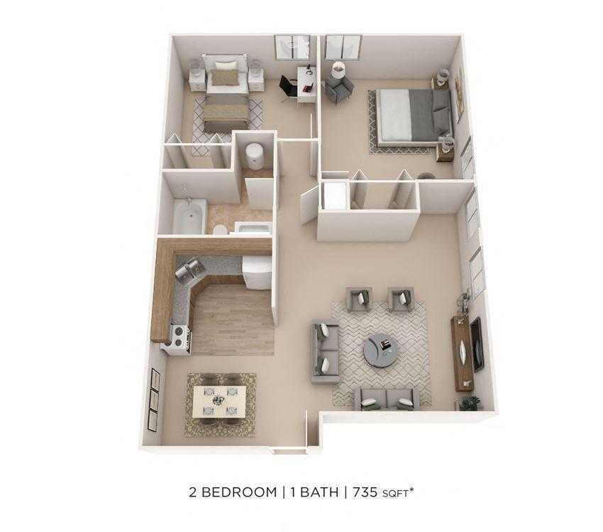2 Bedroom, 1 Bath 735 sq. ft.