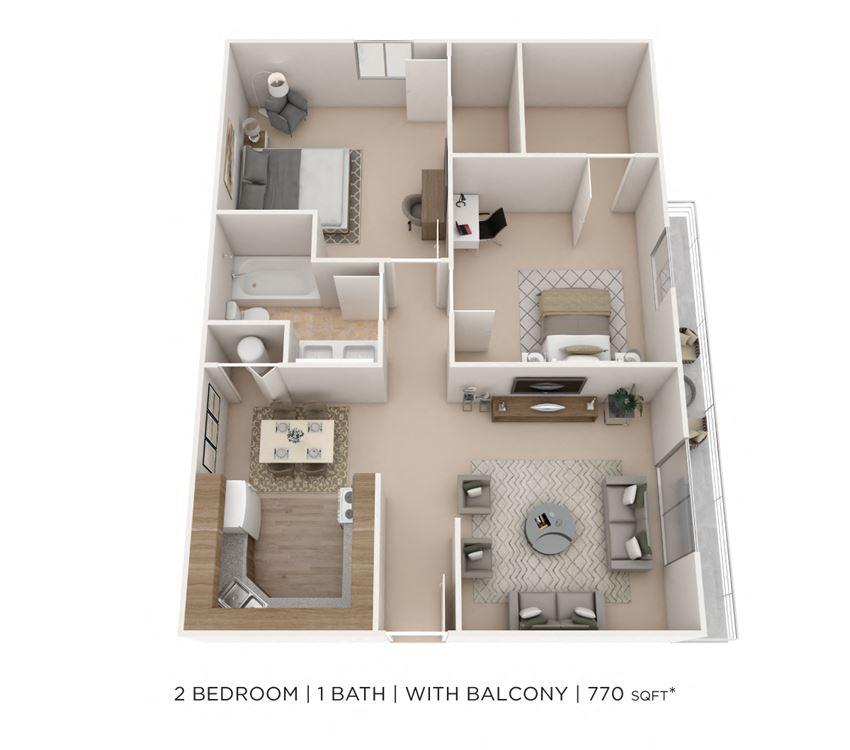 2 Bedroom, 1 Bath 770 sq. ft.