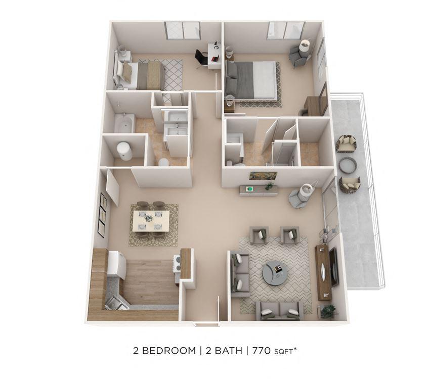 2 Bedroom, 2 Bath 770 sq. ft.