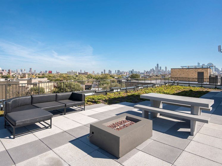 Rooftop Terrace with Skyline Views and Fire Pit