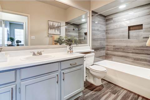 Model bathroom with wood-style flooring and gray cabinets