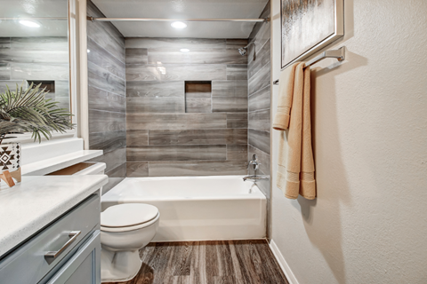 Model bathroom with newly renovated shower/tub