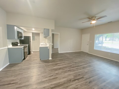 Two bedroom, two bathroom kitchen, dining room, living room, and front entry