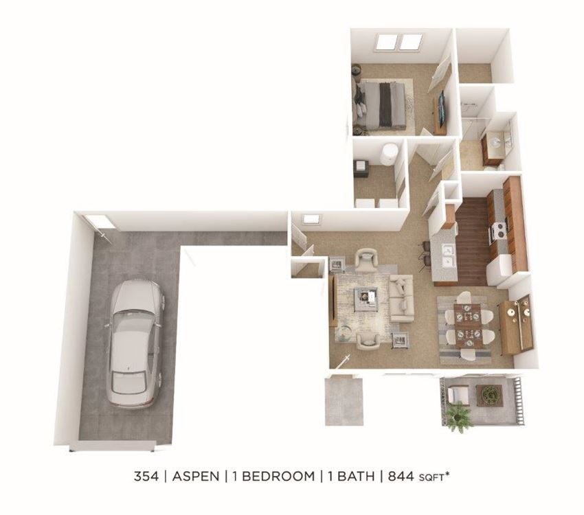 1 Bedroom, 1 Bath 844 sq. ft. (Phase Two)