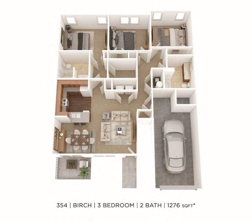 3 Bedroom, 2 Bath 1,276 sq. ft.