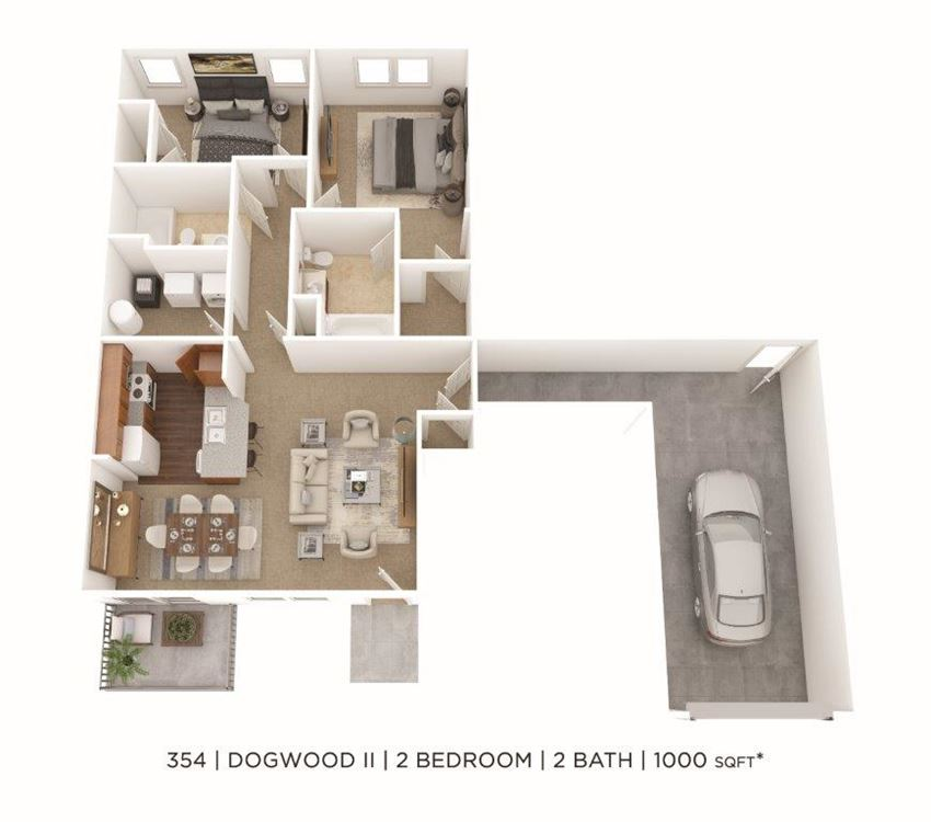 2 Bedroom, 2 Bath 1,000 sq. ft. (Phase Two)