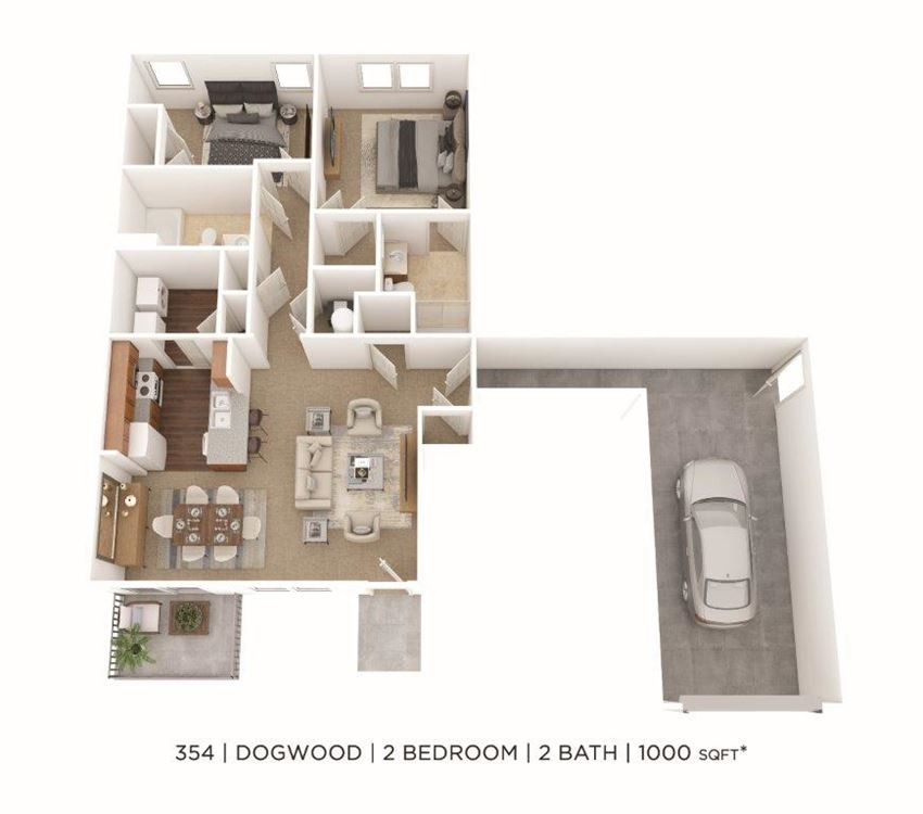 2 Bedroom, 2 Bath 1,000 sq. ft.