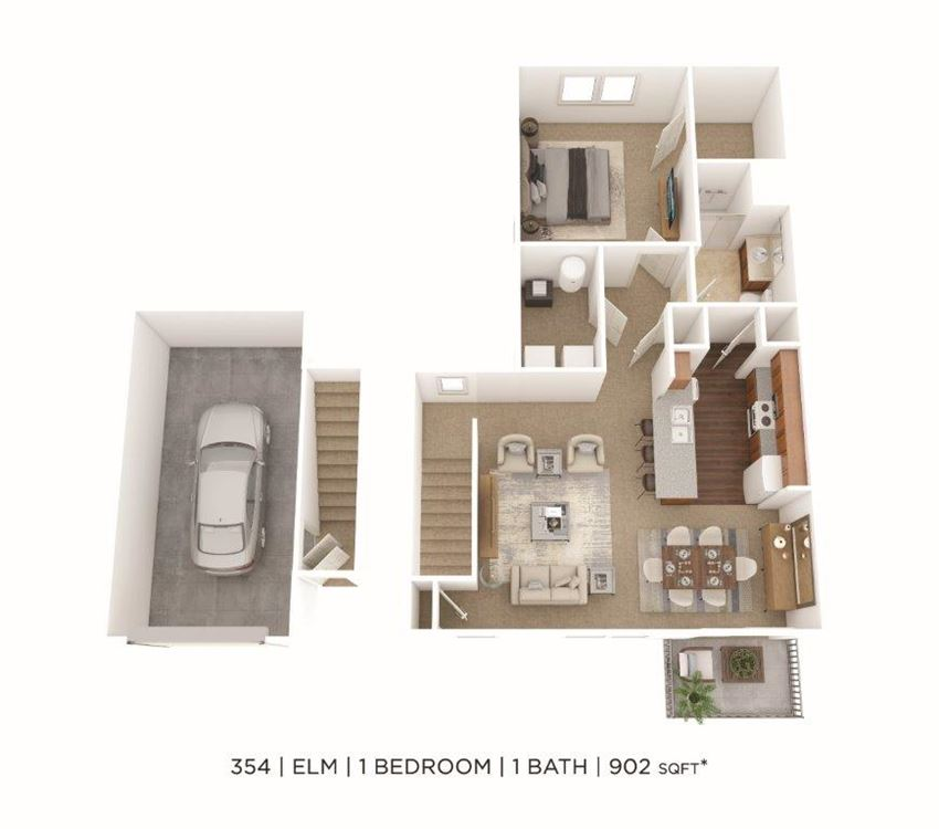 1 Bedroom, 1 Bath 902 sq. ft. (Phase Two)