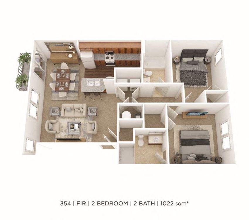 2 Bedroom, 2 Bath 1,022 sq. ft.