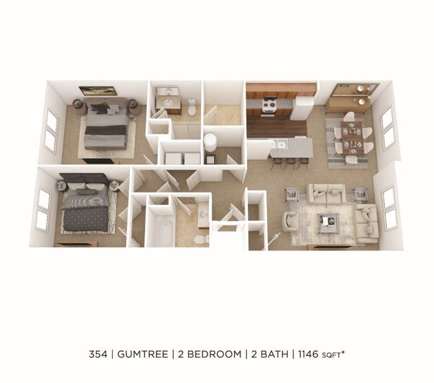 2 Bedroom, 2 Bath 1,146 sq. ft. (Phase Two)
