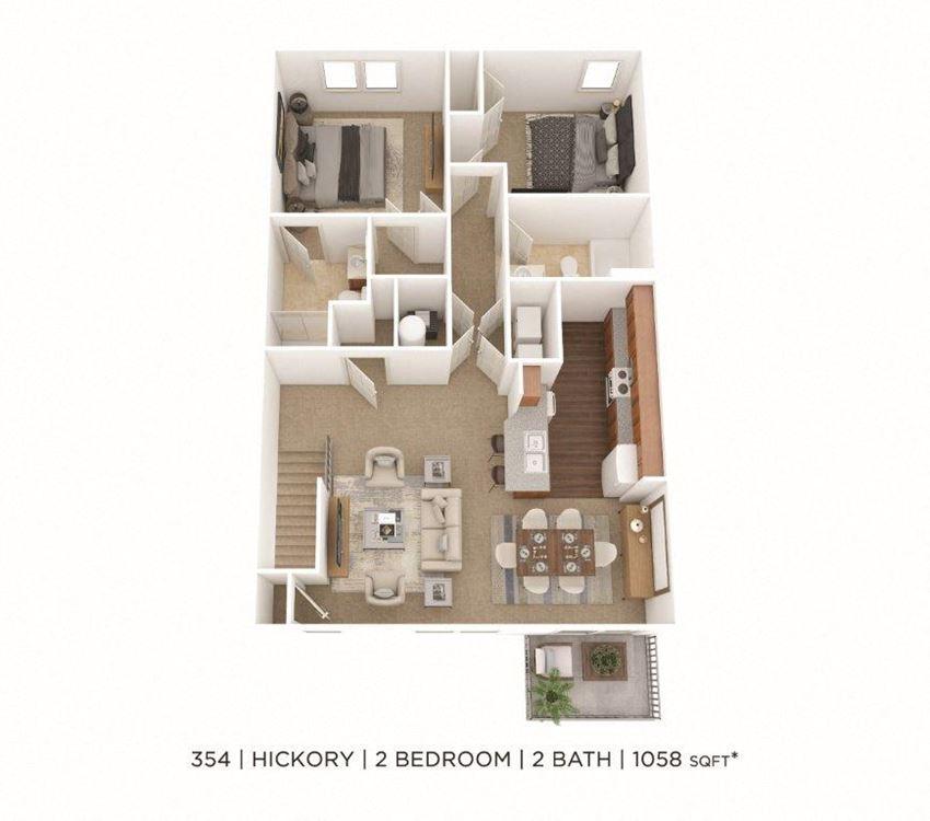 2 Bedroom, 2 Bath 1,058 sq. ft.