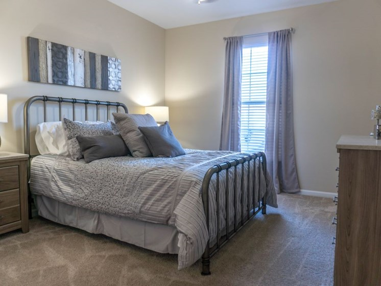 Master Bedroom Feels Large and Spacious with Impressive 9 Foot Ceilings and Large Walk-In Closets at The Shallowford Apartment Homes, Chattanooga, TN 37421