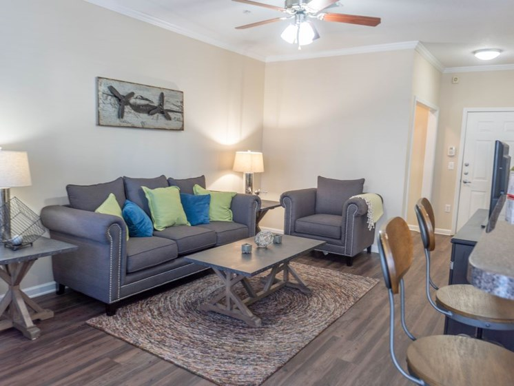 Modern Living Rooms with Faux Wood Plank Flooring, and Lofty 9 ft with Ceiling Fans at The Shallowford Apartment Homes, Chattanooga, TN 37421