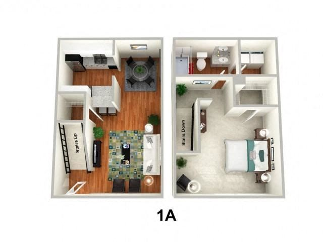 1 Bed 1 Bath Floor Plan at Sundance Creek Apartments, McDonough