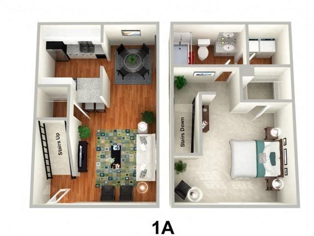 1 Bedroom 1 Bathroom Floor Plan at Sundance Creek Apartments, Georgia