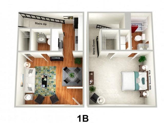 1 Bedroom 1.5 Bathroom Floor Plan at Sundance Creek Apartments, McDonough, GA, 30253
